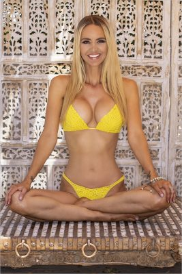 April Scott Yelow Swimsuit